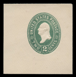 U.S. Scott # U 305, 1887 2c Washington, Die 1, green on white - Mint Full Corner