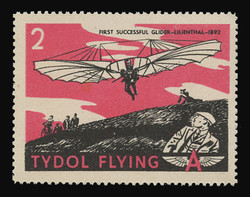"Tydol Flying ""A"" Poster Stamps of 1940 - # 2, First Successful Glider -Lilienthal-1892"