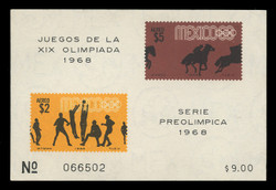 MEXICO Scott # C 338a, 1968 1968 Olympics, Souvenir Sheet of 2, Imperforate