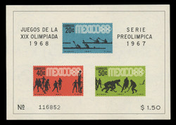MEXICO Scott #  983a, 1967 1968 Olympics, Souvenir Sheet of 3, Imperforate
