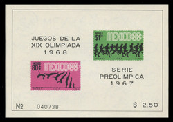 MEXICO Scott # C 329a, 1967 1968 Olympics, Souvenir Sheet of 2, Imperforate