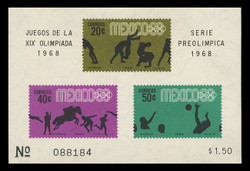 MEXICO Scott # 992a, 1968 1968 Olympics, Souvenir Sheet of 3, Imperforate