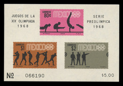 MEXICO Scott # 995a, 1968 1968 Olympics, Souvenir Sheet of 3, Imperforate