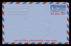 U.S. Scott # UC 32 1959 10c Jet Airliner, Type II, 2-Line Back - Mint Air Letter Sheet