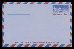 U.S. Scott # UC 32a 1958 10c Jet Airliner, Type I, 3-Line Back - Mint Air Letter Sheet