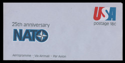 U.S. Scott # UC 49 1974 18c 25th Anniversary of NATO - Mint Air Letter Sheet