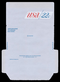 U.S. Scott # UC 50D 1976 22c U.S.A., Red & Blue, Die Cutting Reversed - Mint Air Letter Sheet, UNFOLDED