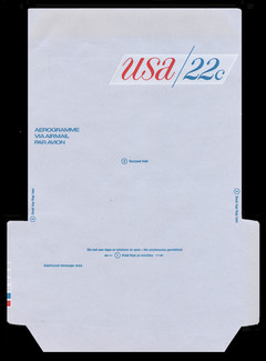U.S. Scott # UC 50DB 1976 22c U.S.A., Red & Blue, Die Cutting Reversed, Red & Blue Boxes on Right Tab - Mint Air Letter Sheet, UNFOLDED (See Warranty)