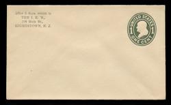 U.S. Scott # U 400, 1907-16 1c Franklin, green on white, Die 1 - Mint Envelope, UPSS Size  7