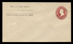 U.S. Scott # U 406b, 1907-16 2c Washington, brown red on white, Die 3 - Mint Envelope, UPSS Size  8
