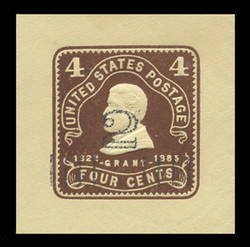 U.S. Scott # U 463, 1920-1 2c on 4c (U4391) Grant, chocolate on amber - Mint Cut Square