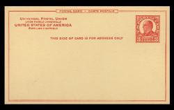U.S. Scott # UX  37a/UPSS #S53a-2, 1926 3c William McKinley, carmine on canary - Mint Postal Card