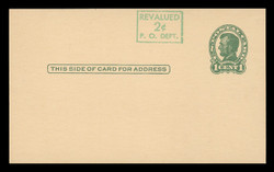 U.S. Scott # UX  40/UPSS #S58-1H3-S, 1952 2c on 1c Abraham Lincoln (UX28), green on buff, Head 3, Surcharge Shifted Up - Mint Postal Card (See Warranty)