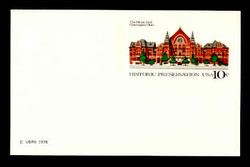 U.S. Scott # UX  73FM, 1978 10c Cincinnati Music Hall - Mint Postal Card, FLUORESCENT (Medium Bright) PAPER (See Warranty)