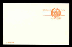 U.S. Scott # UX  75CFM, 1978 10c John Hancock - Patriot Series - Mint Postal Card, COARSE, FLUORESCENT (Medium Bright) PAPER (See Warranty)