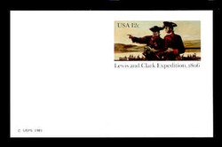 U.S. Scott # UX  91FM, 1981 12c Lewis & Clarke Expedition - Mint Postal Card, FLUORESCENT (Medium Bright) PAPER (See Warranty)