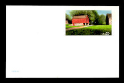 U.S. Scott # UX 198FM, 1995 20c Red Barn - Mint Postal Card, FLUORESCENT (Medium Bright) PAPER (See Warranty)