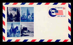 U.S. Scott # UXC  5FM 1966 11c Visit the U.S.A., Flag and Map - Mint Postal Card, FLUORESCENT (Medium Bright) PAPER (See Warranty)