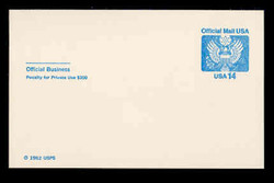 U.S. Scott # UZ 03FM, 1985 14c Official Mail, white on blue - Mint Postal Card, FLUORESCENT (Medium Bright) PAPER (See Warranty)