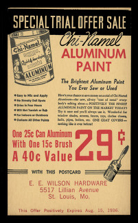 Chi-Namel Aluminum Paint Advertising Postal Card (On Scott #UX27) - Period of use, August 1936.