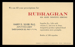 E.R. Squibb & Sons, Rubragran Vitamins Advertising Postal Card (On Scott #UX27) - Est. period of use, Early 1950s.