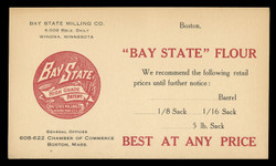 Bay State Flour, Retail Price Suggestion Notce (On Scott #UX30) - Est. period of use, 1918-20.