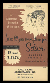 Abbott Labs, Selsun Sulfide Suspension (Shampoo) (On Scott #UX41) - Est. period of use, early 1950s.