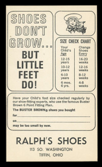 Buster Brown Shoes Checkup Card (On Scott #UX48) - Est. period of use, mid 1960s.