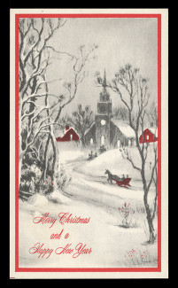 Christmas Greetings Card - Church & Stream (On Scott #UX58) - Est. period of use, early 1970s.