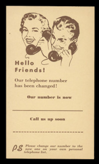 Change of Telephone Number Correspondence Card (On Scott #UX27) - Est. period of use, late 1940s.