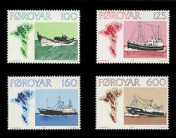 FAROE ISLANDS Scott #  24-7, 1977 Fishing Vessels (Set of 4)