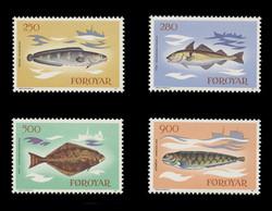FAROE ISLANDS Scott #  97-100, 1983 Fish - Tusk, Haddock, Halibut, Catfish (Set of 4)