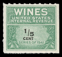 U.S. Scott #RE108, 1942 1/5c Wine Stamp