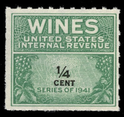 U.S. Scott #RE109, 1942 1/4c Wine Stamp