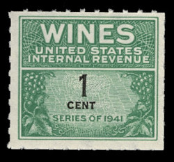 U.S. Scott #RE111, 1942 1c Wine Stamp