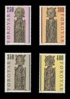 FAROE ISLANDS Scott # 102-5, 1984 Kirkjubour Pew Gables (Set of 4)