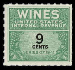 U.S. Scott #RE122, 1942 9c Wine Stamp