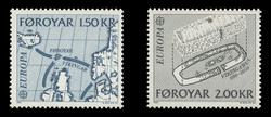 FAROE ISLANDS Scott #  81-2, 1982 EUROPA - Viking Map & House (Set of 2)
