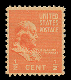 U.S. Scott # 803, 1938 1/2c Benjamin Franklin