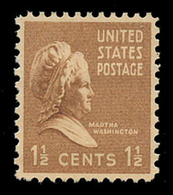 U.S. Scott # 805, 1938 1 1/2c Martha Washington