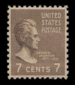 U.S. Scott # 812, 1938 7c Andrew Jackson