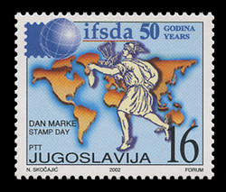 YUGOSLAVIA Scott # 2578, 2002 Int'l. Federation of Stamp Dealers' Asssociations, 50th Anniversary