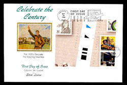 U.S. Scott #3184 32c CTC - Charles Lindbergh Press Sheet First Day Cover.  Steve Levine/Colorano cachet, Vertical Gutter