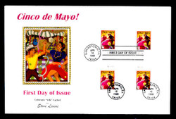 U.S. Scott #3203 32c Cinco de Mayo Press Sheet First Day Cover.  Steve Levine/Colorano cachet, Cross-Gutter Block