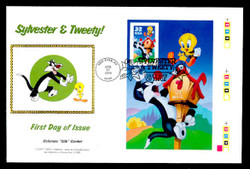 U.S. Scott #3204 32c Sylvester & Tweety Press Sheet First Day Cover.  Steve Levine/Colorano cachet, Right Side Pane (See Warranty)
