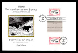 U.S. Scott #3210 Trans-Mississippi Reprints, Press Sheet First Day Cover.  Steve Levine/Colorano cachet,  PAIR with Horizontal Gutter (See Warranty)