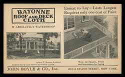 Bayonne Roof & Deck Cloth Advertising Postal Card (On Scott #UX24) - Est. period of use, 1910s.