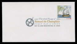 U.S. Scott #4073, 2006 39c Samuel de Champlain First Day Cover.  Digital Colorized Postmark