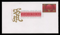 U.S. Scott #4221, 2008 41c Chinese New Year - Rat First Day Cover.  Digital Colorized Postmark