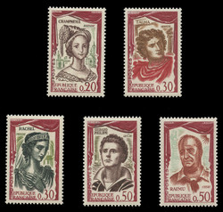 FRANCE Scott #  997-1001, 1961 Great French Actors & Actresses (Set of 5)